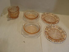 Lot of 5 VIntage Pink Depression Glass Pattern Unknown sugar bowl no lid