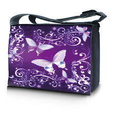 "17.3"" 17"" Laptop Notebook Padded Compartment Messenger Bag Purple Butterfly"