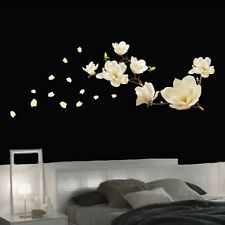 Beautiful White Magnolia Flower Wall Art Sticker for Living Room Bedroom Decor