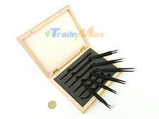 6 Pcs Non Magnetic Black Oxidized Finish Tweezers Set in Wooden Box Jewelry Tool