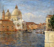 Oil painting cityscape of Venice with canoes boats on canal & church canvas