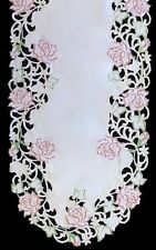 """16"""" x 36"""" Rose Embroidered Table Runner Tablecloth"""