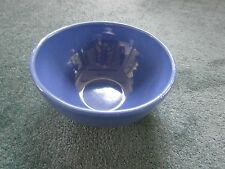 """Antique Country Banded Pottery Mixing Bowl 8.5"""" 2 Quart Cobalt Blue"""