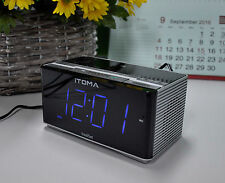 iTOMA Clock Radio, Bluetooth, FM, Auto Time Setting, Dual Alarm, USB Chargi