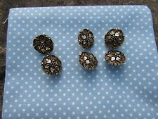 Pack of 6 Antique Style Gold Floral Patterned Shank Buttons Approx 2.5cm