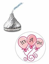 108 ITS A GIRL BABY SHOWER BALLOONS HERSHEY KISS KISSES CANDY LABELS FAVORS