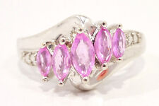 10k Solid Gold Ring Pink Sapphire & Diamond Contemporary Can Be Sized Free Ship