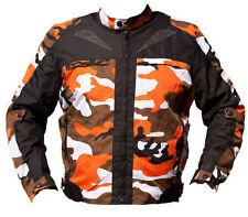 BLACK ASH MENS CAMO MOTORCYCLE CORDURA TEXTILE ARMOR JACKET ORANGE 2XL