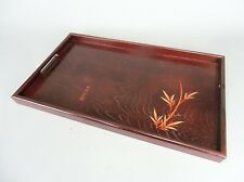 LW542 Japanese Lacquer Tray Wood Grain Square Brown Bamboo Signed Vintage Obon