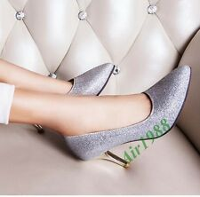 Hot Womens Sequins High Heel Pointed Toe Slip On Court Wedding Prom Pumps Shoes