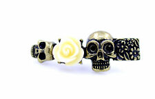 Vintage style skull rose flower double finger ring