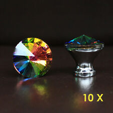 crystal glass drawer knobs kitchen cabinet handle pulls multi color rainbow 10x