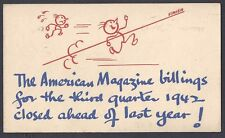 1942 POSTAL CARD THE AMERICAN ANNOUCES SALES ON 3RD QUARTER BEATS LASST YEAR, NY
