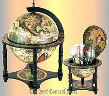 "Small Table Top 13"" Diameter World Globe Built-In Hidden Bar Fresco Interior"