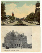 1909 PEORIA IL ILL BLVD & POST OFFICE BUILDING 2 DIFFERENT OLD POSTCARDS PC3729
