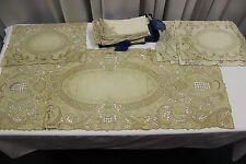 Antique POINT DE VENISE LACE Table Runner 12  Napkins 6 Placemats