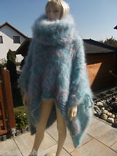 TRAUMMOHAIR FLUFFY Longhair Mohair Poncho Sweater Cape extra Tneck Unit Size NEU