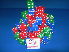 NEW 18 ASSORTED OPAQUE DICE 16MM RED BLUE AND GREEN 6 OF EACH COLOR FREE S&H