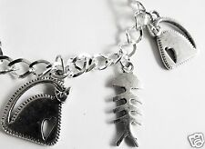 CUTE CAT AND FISH BONES STEAM PUNK SILVER TONE HANDMADE BRACELET 19 -21 CM