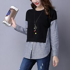 Korean Spring Women Long Sleeve Fashion Striped False Two Pieces Shirt Tops New