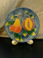 "decorative Mosaic Fruit Plate Barrarte Made in Portugal 8-1/2"" blue yellow pear"