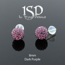 14k Gold 8mm Swarovski Elements Dark Purple Crystal Disco Ball Stud Earrings