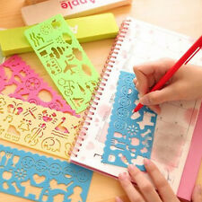 4 Kids Children Plastic Art Drawing Painting Template Stencils Rulers Tools DIY