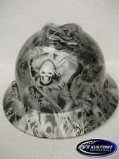 New Custom MSA V-Gard (Full Brim) Hard Hat W/FasTrac Grim Reaper Pattern