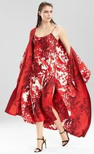 NATORI RED OTTOMAN PRIVATE LUXURIES LONG ROBE & NIGHTGOWN SET SIZE M NWT$300
