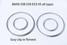 NEW BMW E38 E39 E53 X5 gauge rings instrument cluster matt silver tachoringe M5