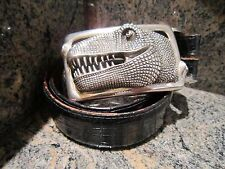 Huge!!! RARE!!! Kieselstein-Cord T-REX Buckle With Black Alligator Belt