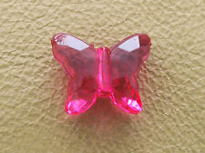 11.5x14mm 50pcs CLEAR DEEP PINK ACRYLIC PLASTIC BUTTERFLY LOOSE BEADS CM4481