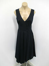 PRADA Navy Cotton Blend Sleeveless Fit and Flare Dress with Pleating - Size 42