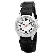 Ladies / Kids Talking Alarm Watch: Black Fabric Strap Band, Choice of Voice