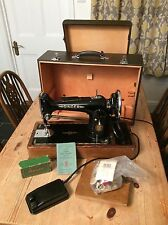 Vintage Electric Singer Sewing Machine  201K 1954, Case, Peddle, Lots Of Extras