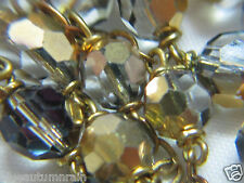 "† VINTAGE GOLD ""MIRROR"" & SMOKEY GRAY GREY FACETED GLASS CAPPED ROSARY 23"" †"