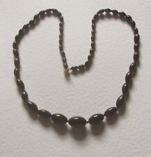 "GRADUATED SINGLE STRAND BLACK OPAQUE GLASS oval BEAD NECKLACE 23"" PRL CZECH"