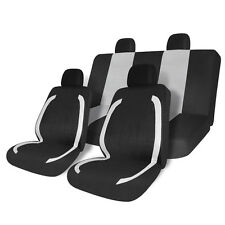 8pc Black & Gray Auto Car Seat Covers Front & Rear Interior Universal Fit Bench
