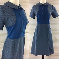 Vintage 60s mod gogo blue color block shirt dress collared M L secretary
