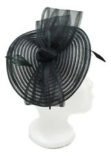 FASCINATOR Black w/ Bow & Feathers Wedding Formal Funeral Prom Cocktail Ascot