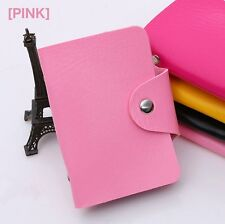 Faux leather Card holder 12 slot Business card Credit card case wallet PINK
