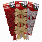 Pack of 3 12cm Glittered Christmas Bows Festive Tree Decorations Seasonal