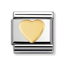 BRAND NEW GENUINE NOMINATION CLASSIC 18ct GOLD HEART ITALIAN CHARM (03011602)
