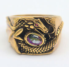 Danbury Mint Dragon Mystic Fire Topaz Gold Over Sterling Silver Mens Ring Sz 11