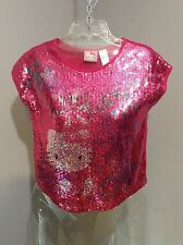 HELLO KITTY Sanrio~ Girls Pink Knit Full Front Sequin S/S Crop HK Design - L