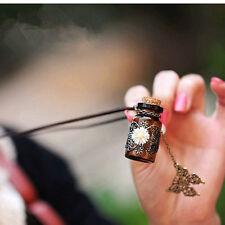 Fashion Girls Retro Wishing Bottle Long Leather Rope Sweater Necklace Jewelry