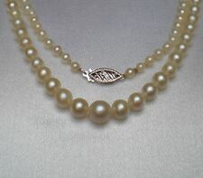 Art Deco Graduated Cultured Sea Pearl Beads Beaded Necklace 10K White Gold Clasp