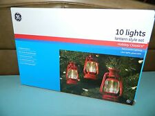 GE Lantern Camping Style Hanging Christmas Tree Lights RV Cabin Set of 10 NEW!!