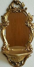 Vintage Hollywood Regency Gold Wall Mirror With Shelf Dart Syroco