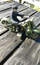 VINTAGE HARLEY DAVIDSON CAST IRON TOY MOTORCYCLE AND RIDER